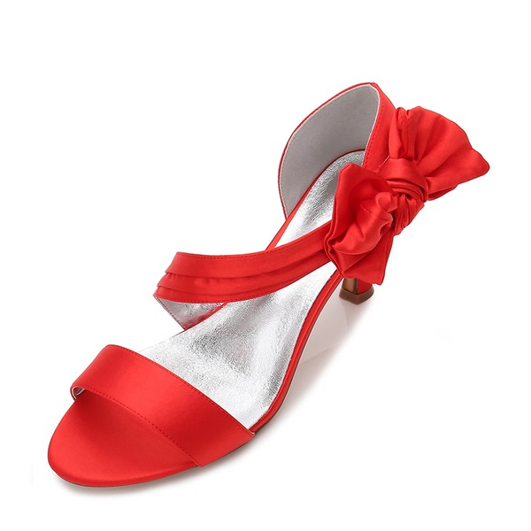 Women's Silk Like Satin Stiletto Heel Peep Toe Pumps Sandals With Bowknot