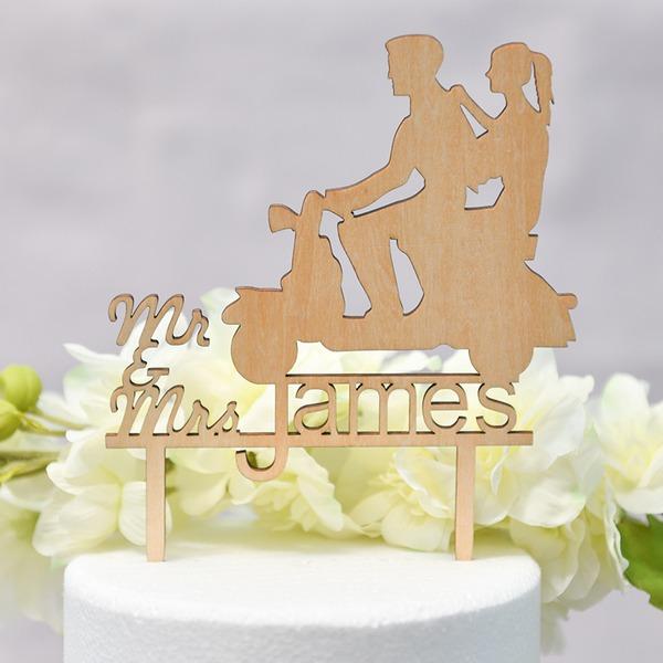 personnalisé Couple classique/Amour doux/Mr & Mrs Bois Décoration pour gâteaux (Vendu dans une seule pièce)