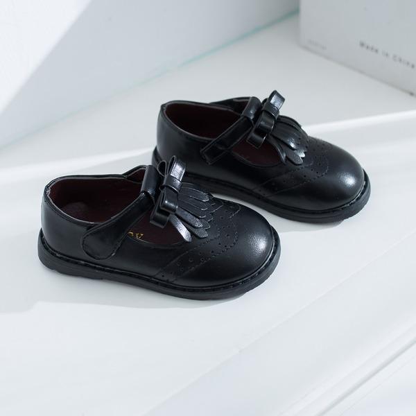 Unisexmodell Round Toe Leather flat Heel Sneakers & Athletic Flower Girl Shoes med Velcro Tassel