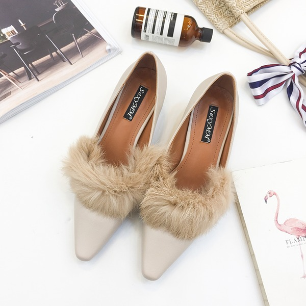 Women's PU Chunky Heel Pumps Closed Toe With Fur shoes