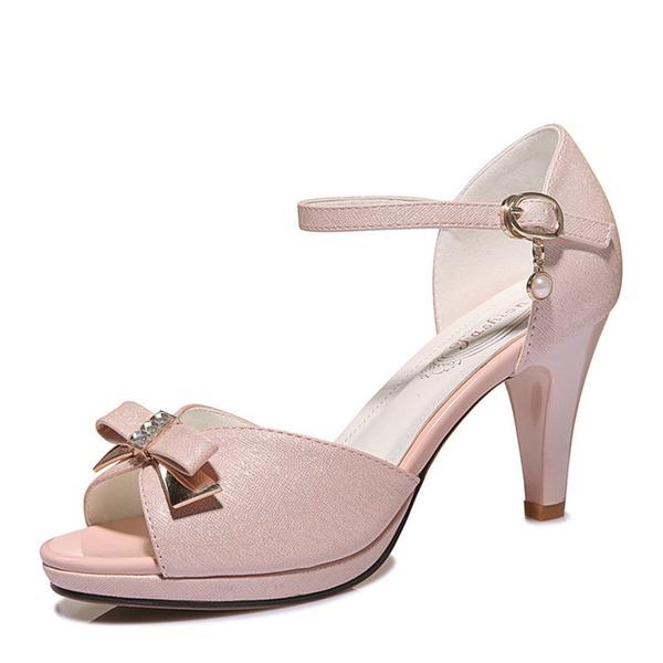 Women's Sparkling Glitter Stiletto Heel Peep Toe Sandals With Bowknot