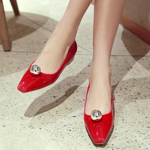 Femmes Cuir verni Talon bottier Chaussures plates avec Strass chaussures