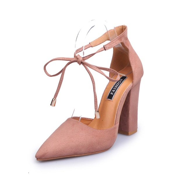 Kadın Süet Kalın Topuk Pompalar Kapalı Toe Ile Toka Bağcıklı ayakkabı