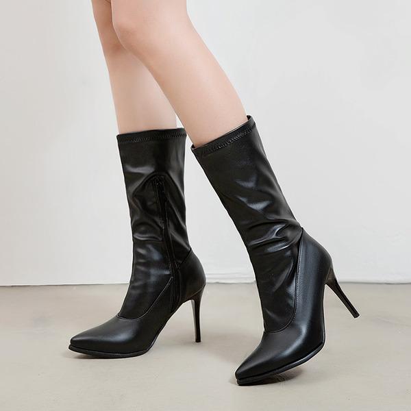 Kadın PU İnce Topuk Mid-Buzağı Boots Ile Fermuar ayakkabı