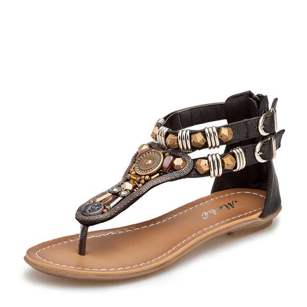 Vrouwen Kunstleer Flat Heel Sandalen met Kralen Klinknagel Rits Keten schoenen