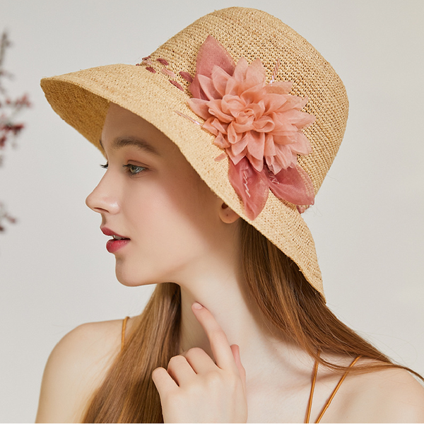 Ladies' Exquisite/Hottest Organza/Raffia Straw With Silk Flower Beach/Sun Hats/Tea Party Hats