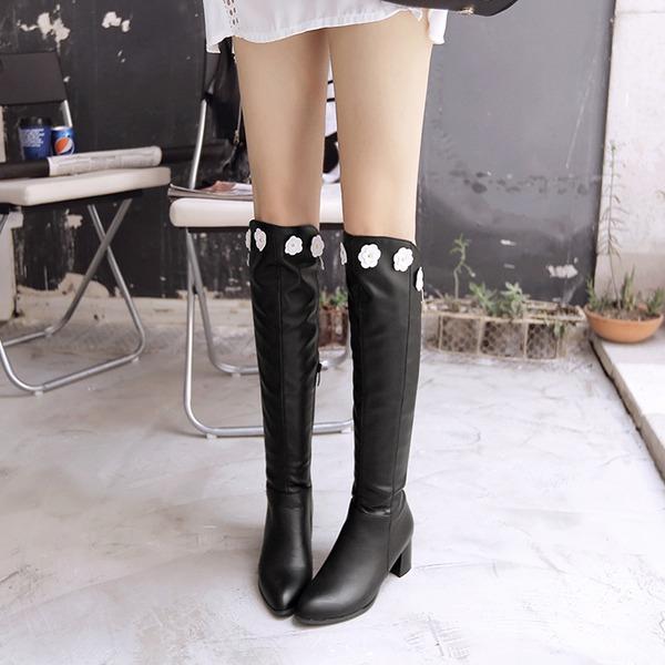 Femmes PU Talon bottier Bottes Cuissardes avec Fleur en satin Zip chaussures