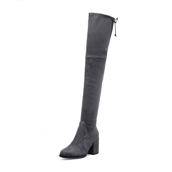 Kadın Süet Kalın Topuk Pompalar Kapalı Toe Bot Diz Yüksek Boots Ile Bağcıklı ayakkabı