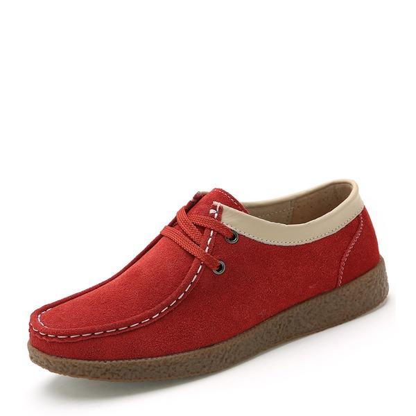 Donna Camoscio Senza tacco Ballerine Punta chiusa con Allacciato scarpe
