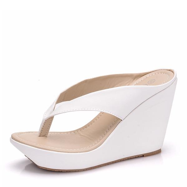 De mujer Cuero Tipo de tacón Sandalias Salón Cuñas Chancletas zapatos