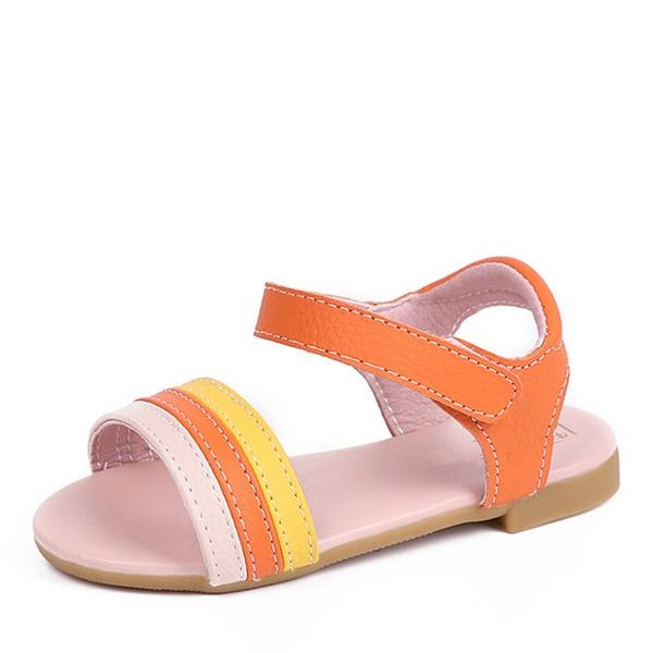 Girl's Peep Toe Slingback Echt leer Flat Heel Sandalen Flats met Velcro