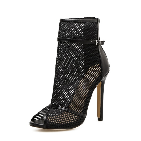 Kvinner Mesh Stiletto Hæl Pumps Støvler Titte Tå Ankelstøvler med Glidelås sko
