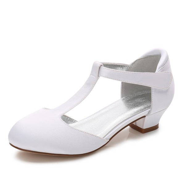 Girl's Round Toe Closed Toe Mary Jane Silk Like Satin Low Heel Flower Girl Shoes With Velcro