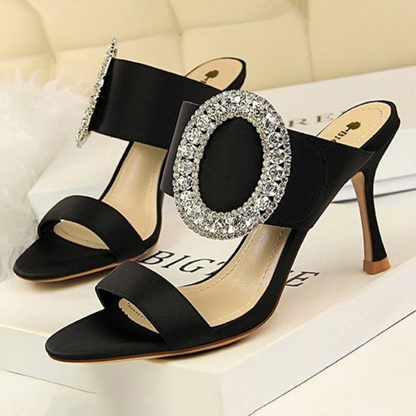 Mulheres como o cetim de seda Salto agulha Sandálias Bombas Peep toe com Strass Fivela sapatos