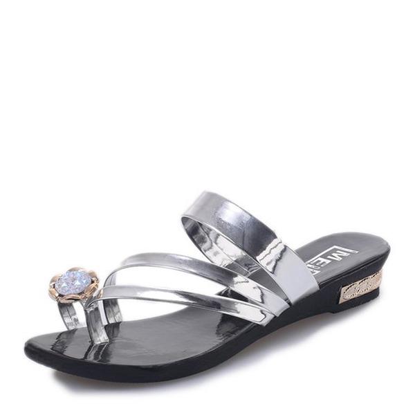 Women's Leatherette Flat Heel Sandals Flats Slingbacks Flip-Flops With Rhinestone Flower shoes