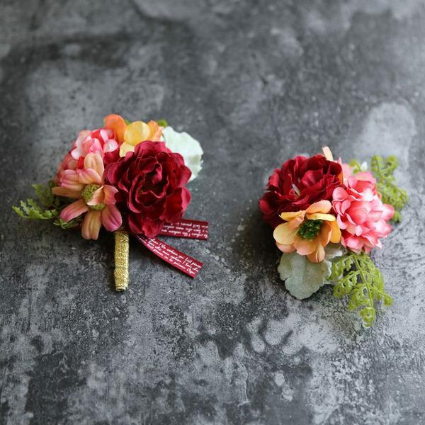 Simples e elegante Forma livre Pano Conjuntos de flores - Buquê de pulso/Alfinete de lapela
