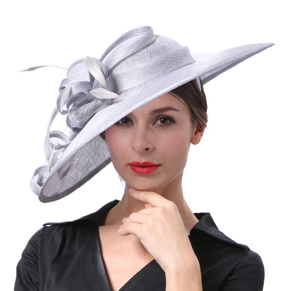 Damene ' Glamorøse/Elegant/Iøynefallende Cambric med Fjær Kentucky Derby Hatter/Tea Party Hats