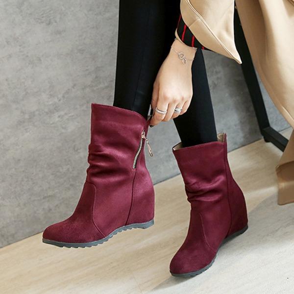 Vrouwen Suede Wedge Heel Wedges Enkel Laarzen met Rits schoenen