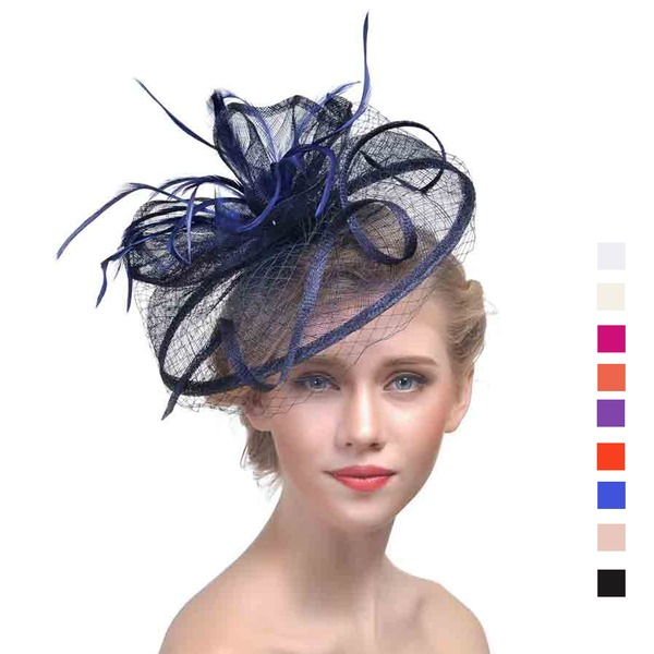 Bayanlar Klasik Patiska Ile Tüy Fascinators