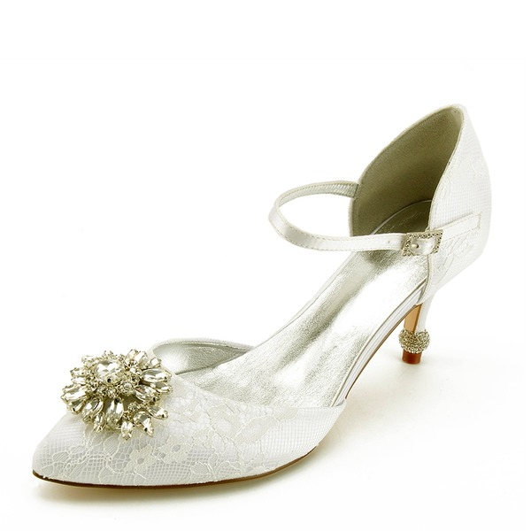 Women's Leatherette Spool Heel Closed Toe Flats With Stitching Lace Crystal Heel Crystal