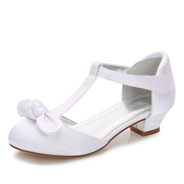 Girl's Round Toe Closed Toe Mary Jane Silk Like Satin Low Heel Flower Girl Shoes With Bowknot Velcro