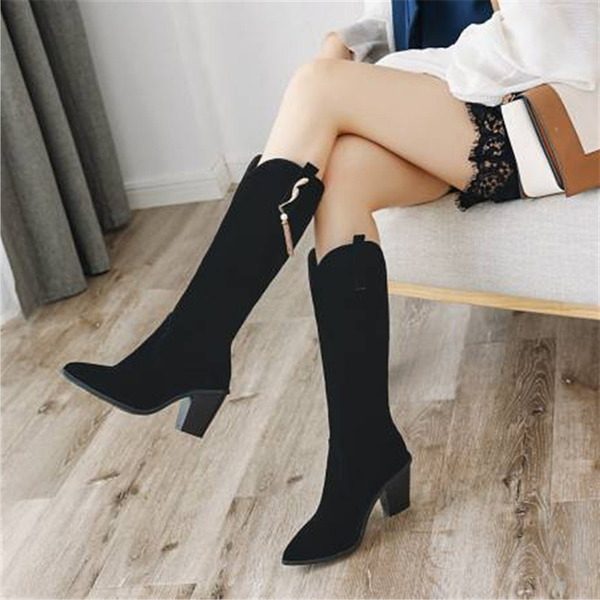 Women's Suede Chunky Heel Knee High Boots With Tassel shoes