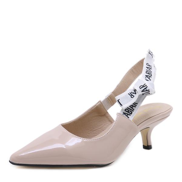 Frauen PU Stöckel Absatz Sandalen Absatzschuhe Geschlossene Zehe Slingpumps mit Bowknot Schuhe
