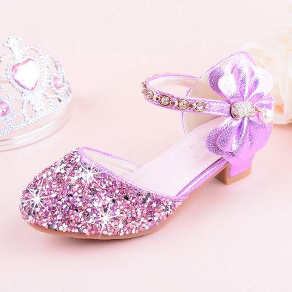 Fille de bout rond Bout fermé similicuir Glitter mousseux Low Heel Chaussures plates Chaussures de fille de fleur avec Bowknot
