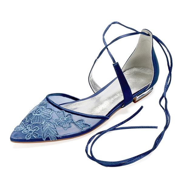 Donna Pizzo raso di seta come Senza tacco Ballerine Sandalo con Cravatta a nastro Fiocco in raso Fiore Allacciato