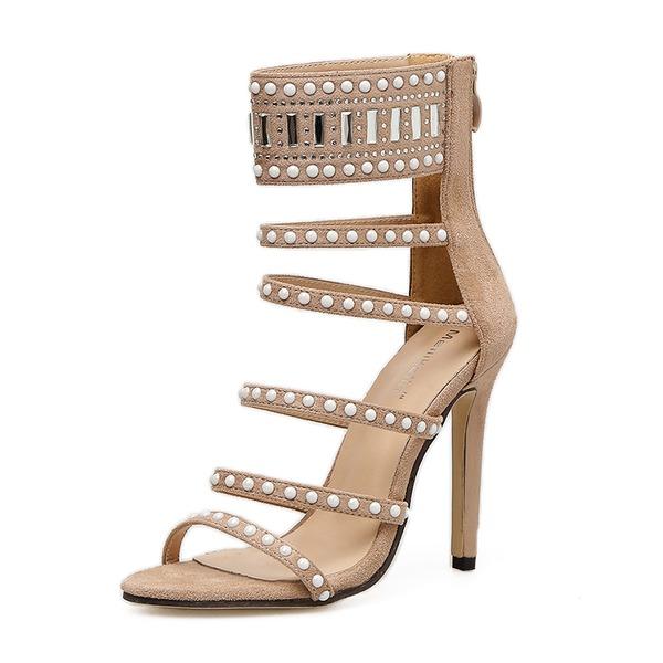 Donna Camoscio Tacco a spillo Sandalo Stiletto Punta aperta con Rivet Cerniera scarpe