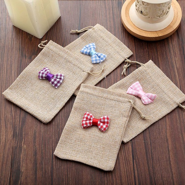 Linen Favor Bags With Bow (Set of 12)