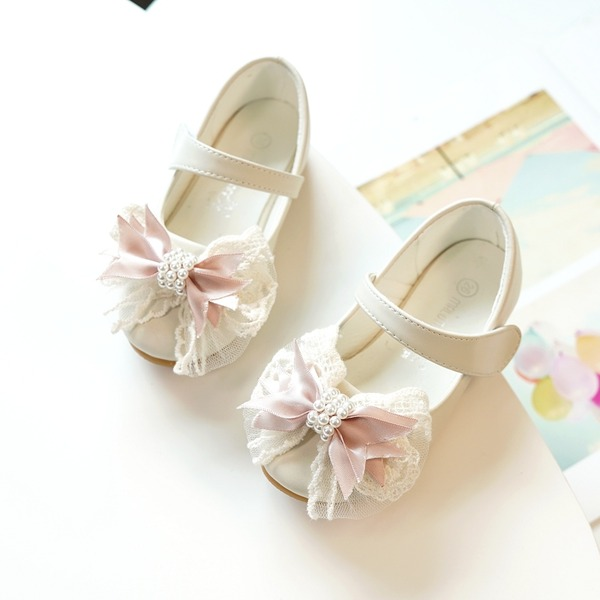 Girl's Round Toe Closed Toe Microfiber Leather Flats Sneakers & Athletic Flower Girl Shoes With Bowknot Velcro Flower