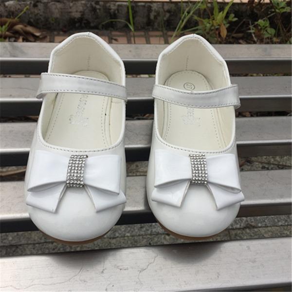 A menina de Toe rodada Fechados imitação de couro Heel plana Sem salto com Bowknot Velcro