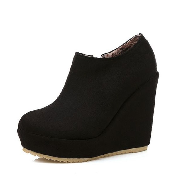 Women's Suede Wedge Heel Pumps Platform Closed Toe Wedges Boots Ankle Boots With Zipper shoes