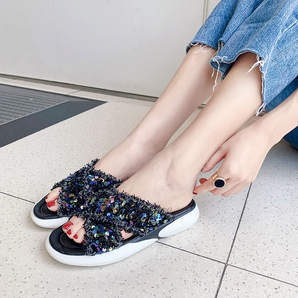 Женщины ткань Вид каблука Сандалии Танкетка Открытый мыс с блестками обувь