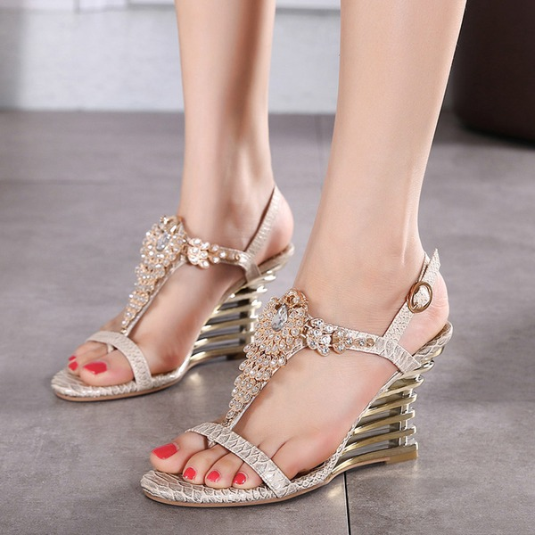 Women's Leatherette Wedge Heel Sandals Wedges Beach Wedding Shoes With Buckle Rhinestone