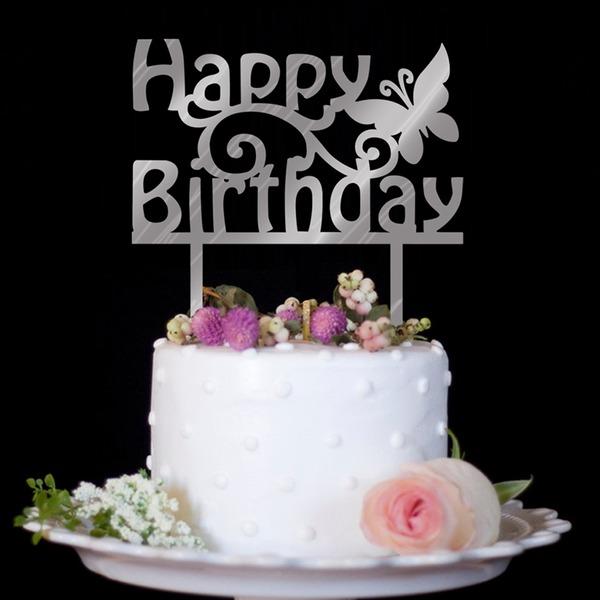 Classic/Happy Birthday Acrylic Cake Topper