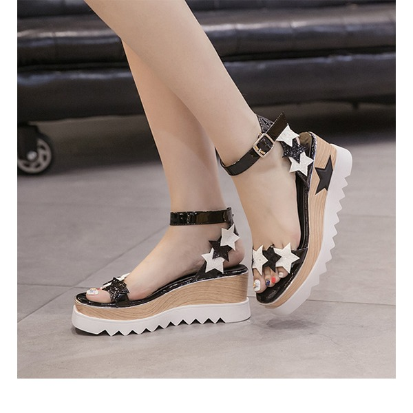 Women's PU Wedge Heel Sandals Pumps Platform Peep Toe Slingbacks With Buckle shoes