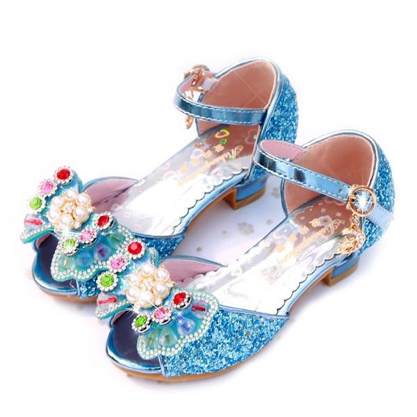 Flicka Peep Toe konstläder sparkling blänker låg klack Sandaler Flower Girl Shoes med Bowknot