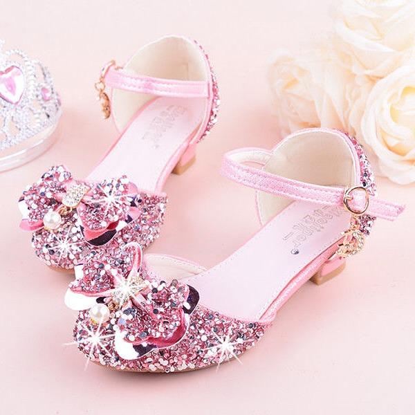 Flicka rund tå Stängt Toe konstläder sparkling blänker låg klack Platta Skor / Fritidsskor Flower Girl Shoes med Bowknot
