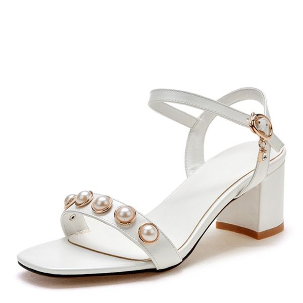Vrouwen Kunstleer Chunky Heel Sandalen Pumps Peep Toe Slingbacks met Imitatie Parel Gesp schoenen