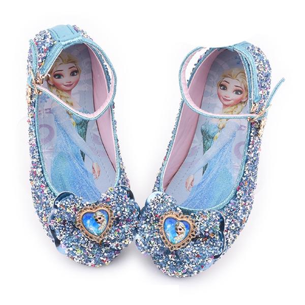 девичий Закрытый мыс дерматин Обувь для девочек с бантом блестками