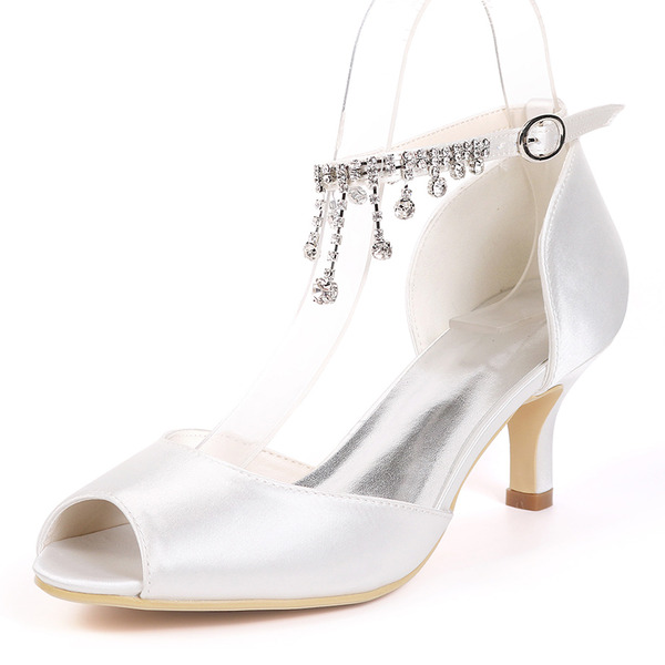 Kvinnor siden som satin Stilettklack Pumps med Strass