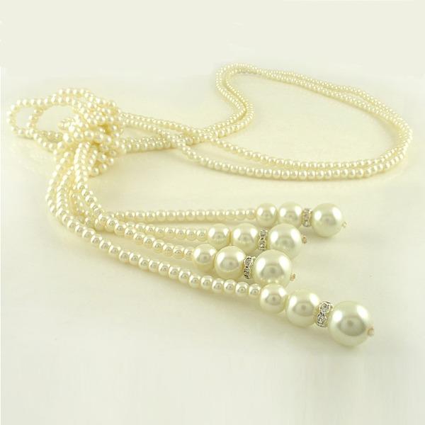 Prächtig Nachahmungen von Perlen mit Strass Damen Mode-Halskette