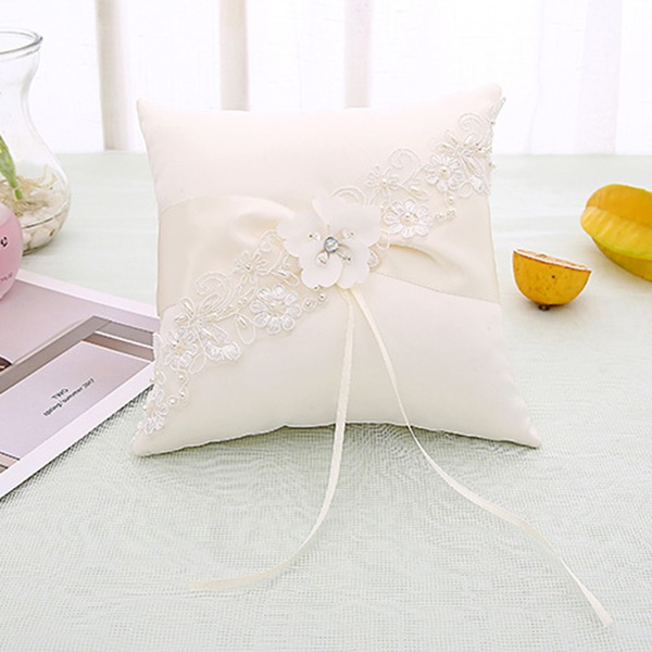 Elegant/Delicate Satin Ring Pillow With Ribbons