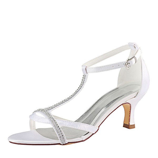 Women's Silk Like Satin Stiletto Heel Peep Toe Sandals With Crystal