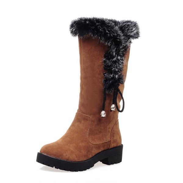 Vrouwen Suede Chunky Heel Half-Kuit Laarzen Snowboots met Bont Gevlochten Riempje schoenen