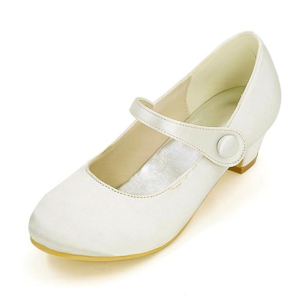 Lukket Tå Satin lav Heel Pumps Flower Girl Shoes