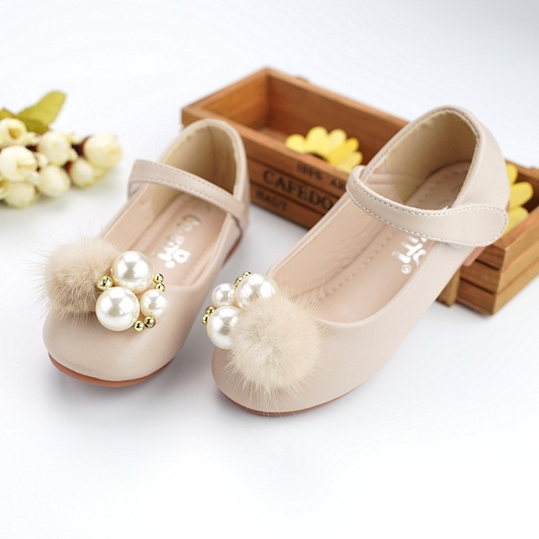 Girl's Microfiber Leather Flat Heel Round Toe Flats With Beading Imitation Pearl Velcro