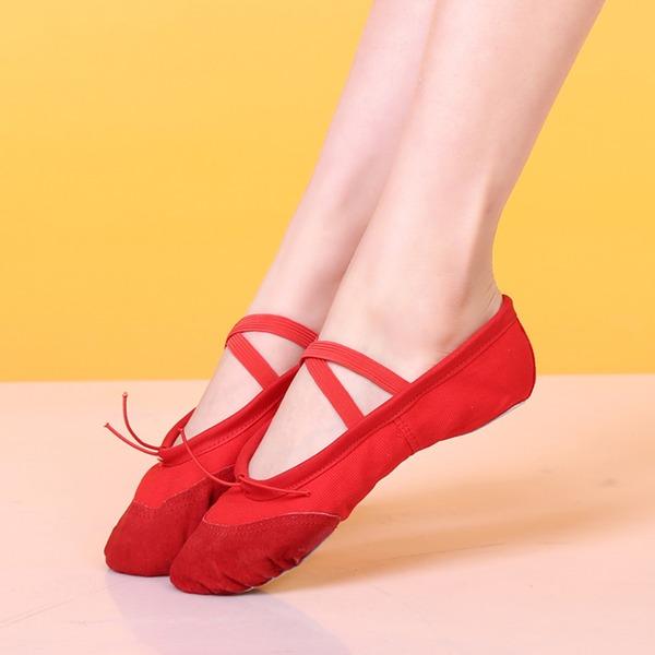 Mulheres Lona Sem salto Balé Dança do ventre com Correia de Calcanhar Sapatos de dança
